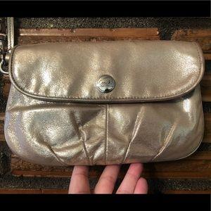 Coach Gold Shimmer wristlet clutch